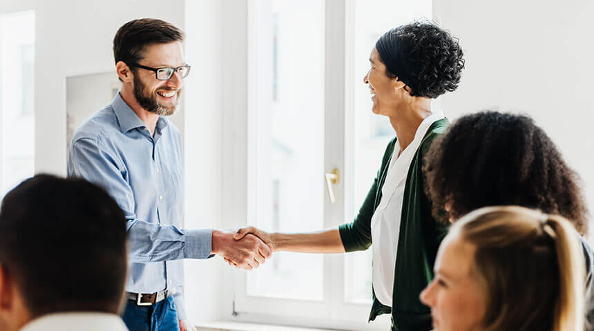 clients shaking hands after meeting